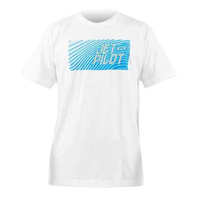 Front view the Jetpilot Matrix Pro Tee with large blue logo. White colorway.