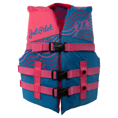Front view of the Youth Pistol life vest in the Pink Blue colorway.