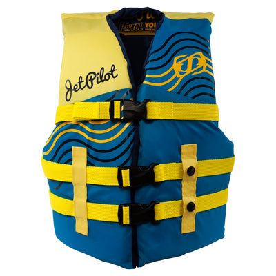 Front view of the Youth Pistol life vest in the Yellow Blue colorway.