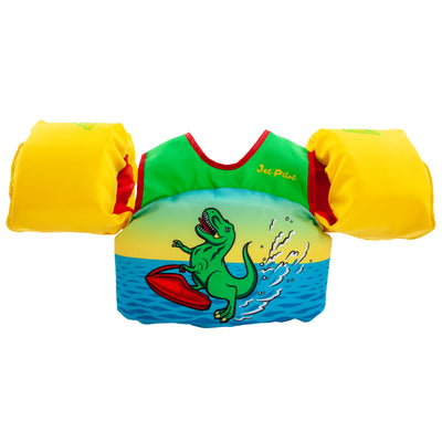 Front view of the Jetpilot Lil Wing Man Infant swim vest Dino colorway.