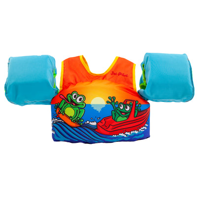 Front view of the Jetpilot Lil Wing Man Infant swim vest Toad colorway.