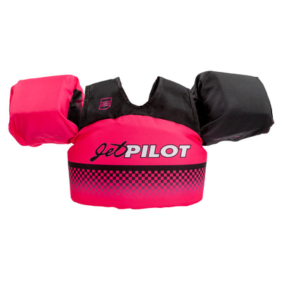 Front view of the Jetpilot Lil Wing Man Infant swim vest Vintage Pink colorway.