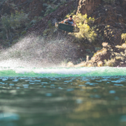 Jetpilot's team rider Shane Bonifay doing a massive air while wakeboarding