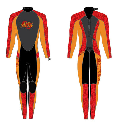 Image showing both the front view and rear view of the Jetpilot Cause Fullsuit youth wetsuit.