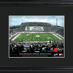 College Stadium Print with Wood Frame  - MICHSTATE