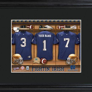 College Locker Room Print in Wood Frame  - NOTREDAME