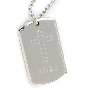 Personalized Large Inspirational Dog Tag w/Engraved Cross