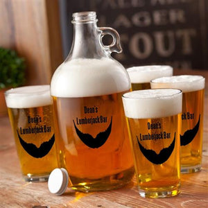 Craft Beer Growler & Pint Glasses Set - Personalized Beer Growler Set - Beard