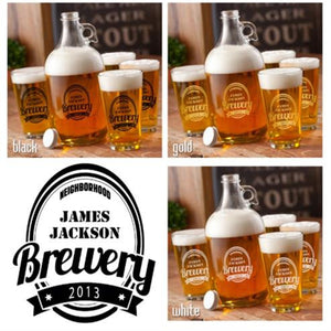 Craft Beer Growler and Pint Glass set - Personalized Printed Brewery Growler Set