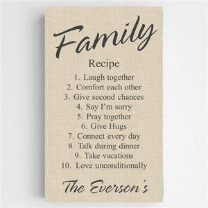 Family Recipe Canvas Sign