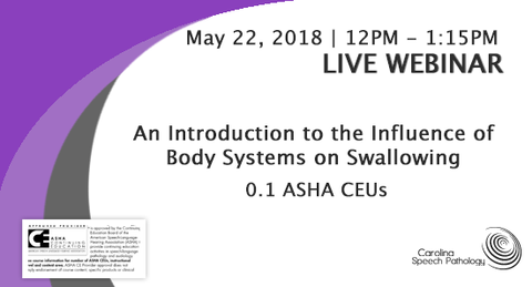 LIVE WEBINAR:  An Introduction to the Influence of Body Systems on Swallowing (2818-001)