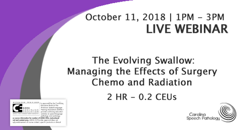 LIVE WEBINAR: The Evolving Swallow: Managing the Effects of Surgery, Chemo, and Radiation (0918-003)