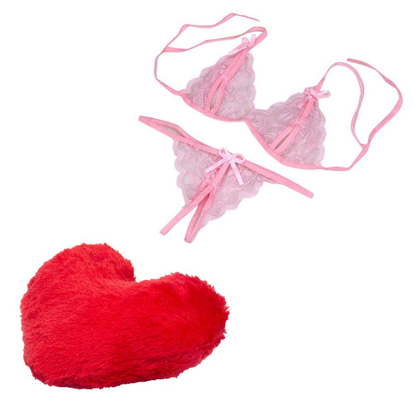 Billebon Combo Heart Pillow with Women BabyDoll Lace Bra and Panty Set