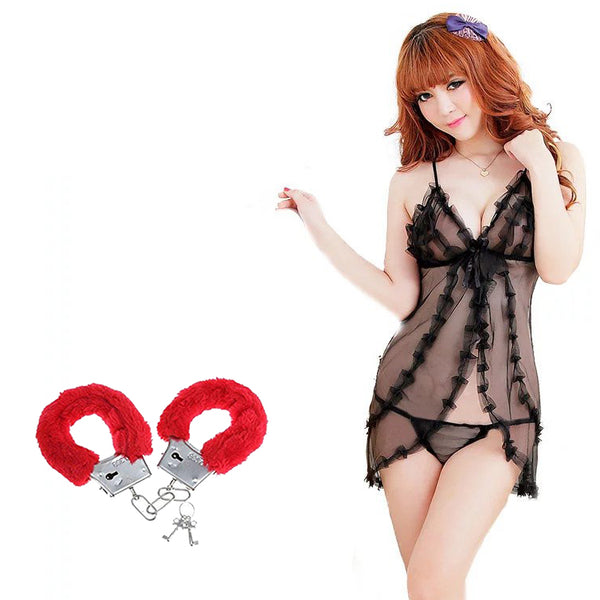 BILLEBON COMBO- WOMEN'S OPEN FRONT BABYDOLL LINGERIE WITH RED FURRY HANDCUFFS