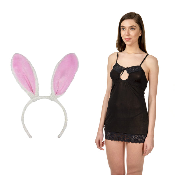 BILLEBON COMBO- WOMEN'S CHEMISE LINGERIE WITH PINK BUNNY BAND