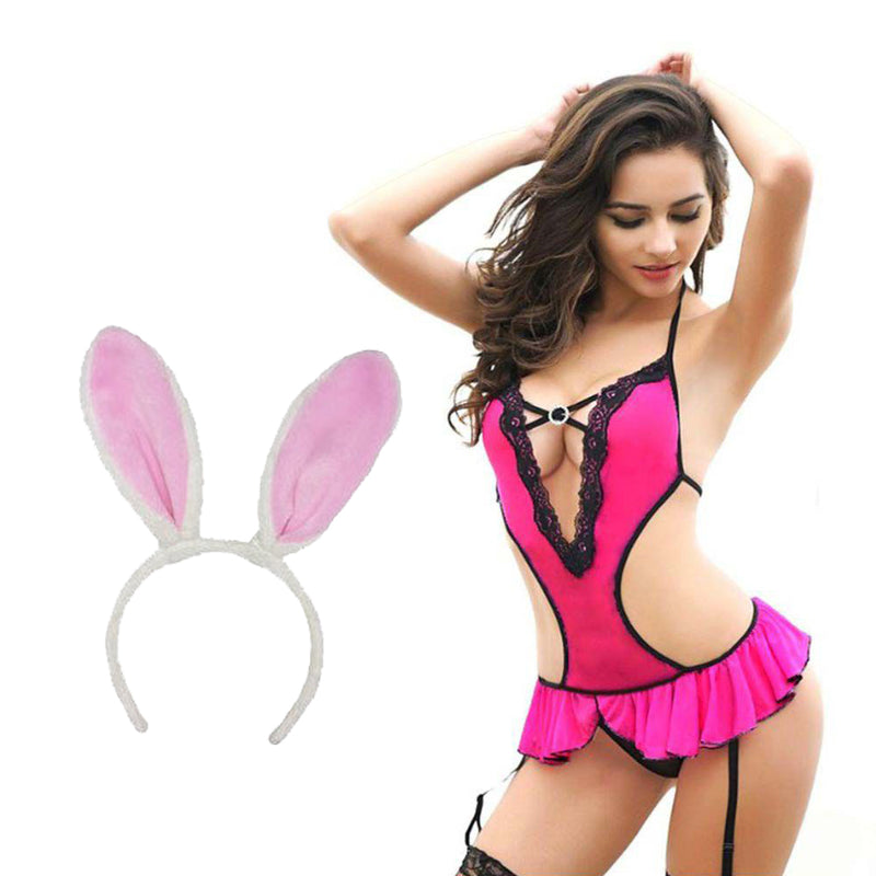 BILLEBON COMBO- WOMEN'S HOT MONOKINI STYLE TEDDY LINGERIE WITH PINK BUNNY BAND