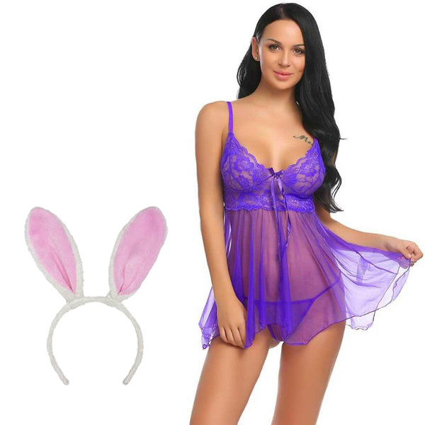 BILLEBON COMBO- WOMEN'S SEXY BABYDOLL LINGERIE WITH PINK BUNNY BAND