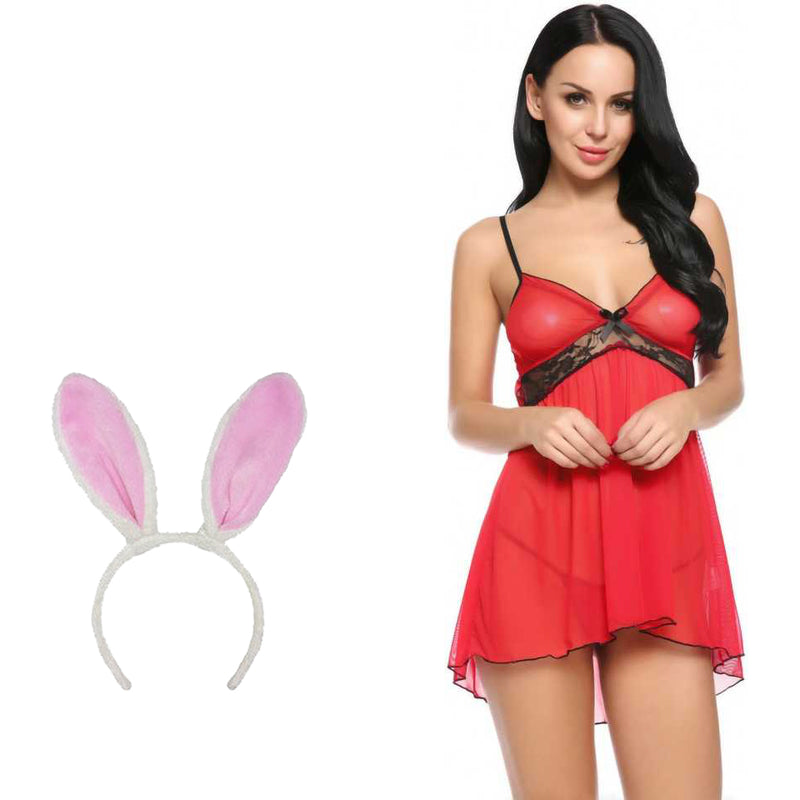 BILLEBON COMBO- WOMEN'S  BABYDOLL LINGERIE WITH PINK BUNNY BAND