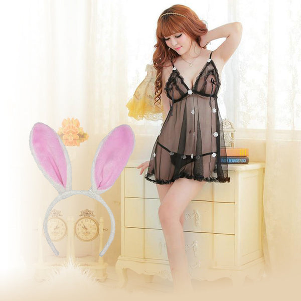 BILLEBON COMBO- WOMEN'S SEE THROUGH BABYDOLL LINGERIE WITH PINK BUNNY BAND