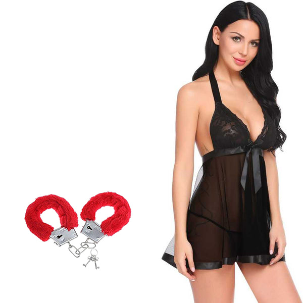 BILLEBON COMBO- WOMEN'S HOT BACKLESS BABYDOLL LINGERIE WITH RED FURRY HANDCUFFS