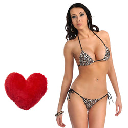 BILLEBON COMBO- WOMEN'S ANIMAL PRINT BIKINI WITH RED FLUFFY PILLOW