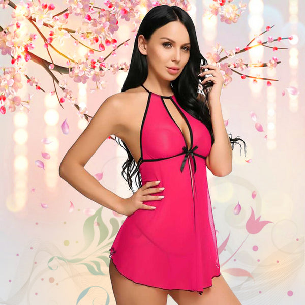 Women Babydoll Deep V Lingerie with G-String Panty