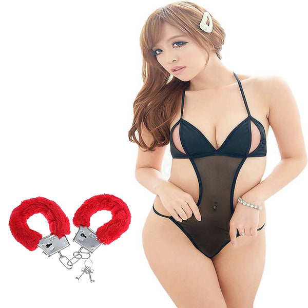 BILLEBON COMBO- WOMEN'S HOT MONOKINI STYLE TEDDY LINGERIE WITH RED FURRY HANDCUFFS
