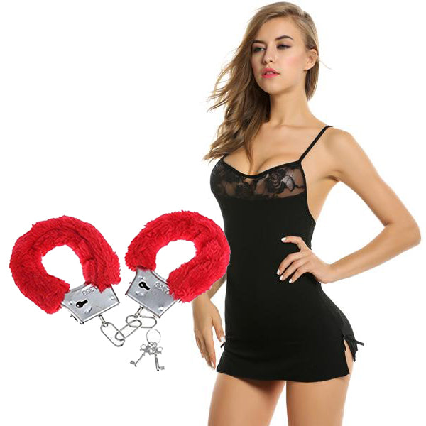BILLEBON COMBO- WOMEN'S CHEMISE LINGERIE WITH RED FURRY HANDCUFFS