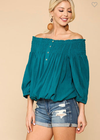 Off Shoulder Button Down Blouse