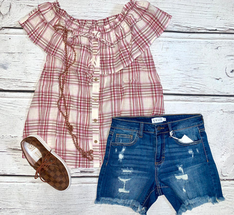 Off The Shoulder Red Plaid Ruffle Top