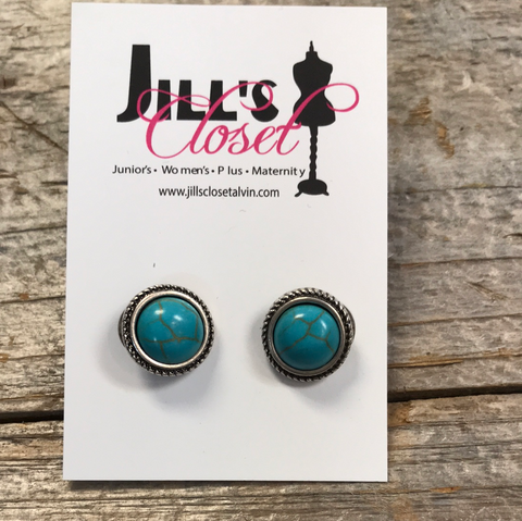 Faux Turquoise Post Earrings