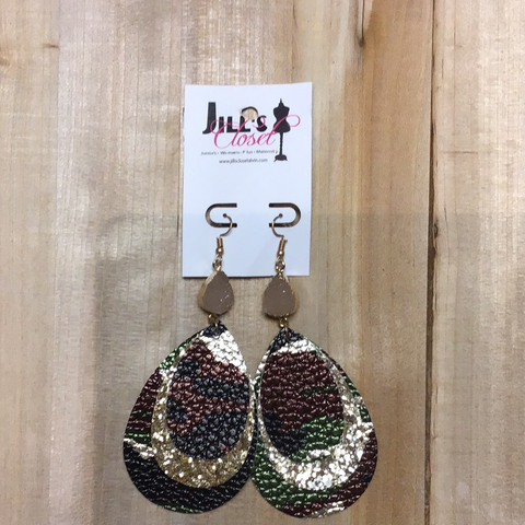stone drop camo earrings
