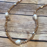 Crystal and Faux Saltwater Pearl Necklace