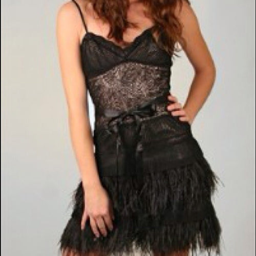 BCBG Ostrich Feather dress