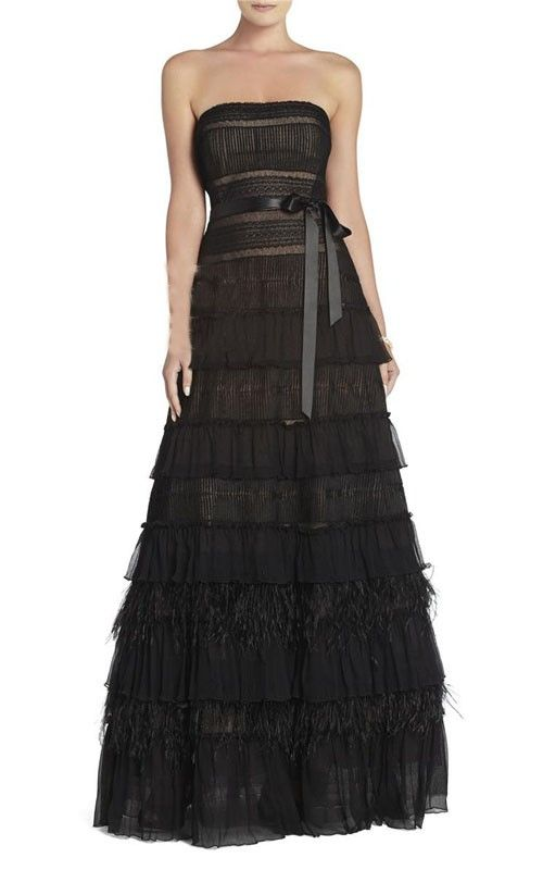BCBG Lace Tiered Gown