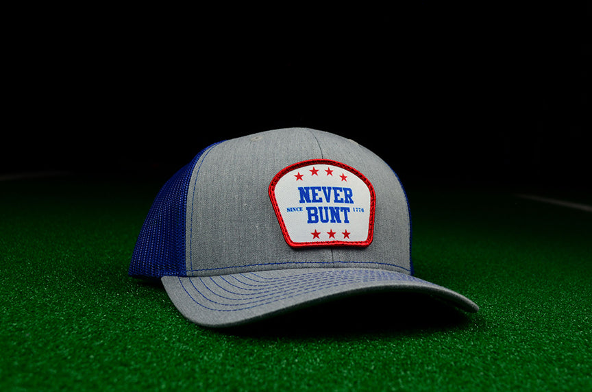 Never Bunt Since 1776 SnapBack Trucker - Royal Blue - Chad Longworth Velo Shop