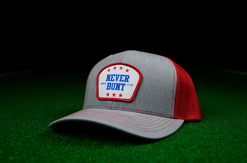 Never Bunt Since 1776 SnapBack Trucker - Red - Chad Longworth Velo Shop