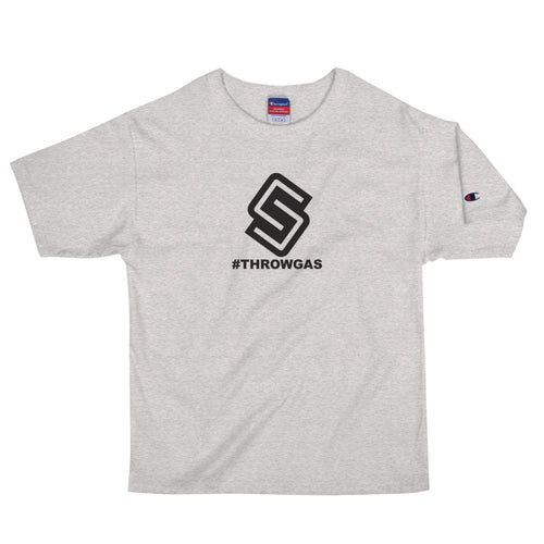 The Spinner #Throwgas Men's Champion T-Shirt - Chad Longworth Velo Shop