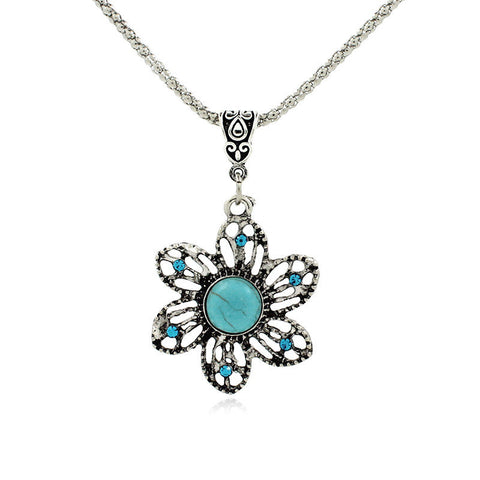 2015 Latest Popular Best-selling  Retro Bohemian Fine Sunflowers Turquoise  Pendants