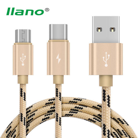 Phone Charger Micro USB Type C Cable 2 in 1 Fast Charging Data Transmission Line For Samsung Huawei Xiaomi 4C Nokia N1 MacBook