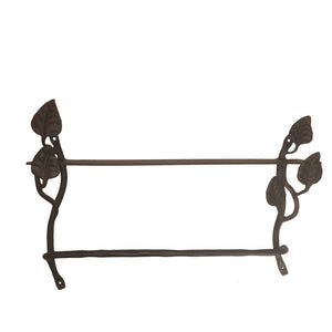 Calico Wrought Iron Leaf Shelf With Towel Bar