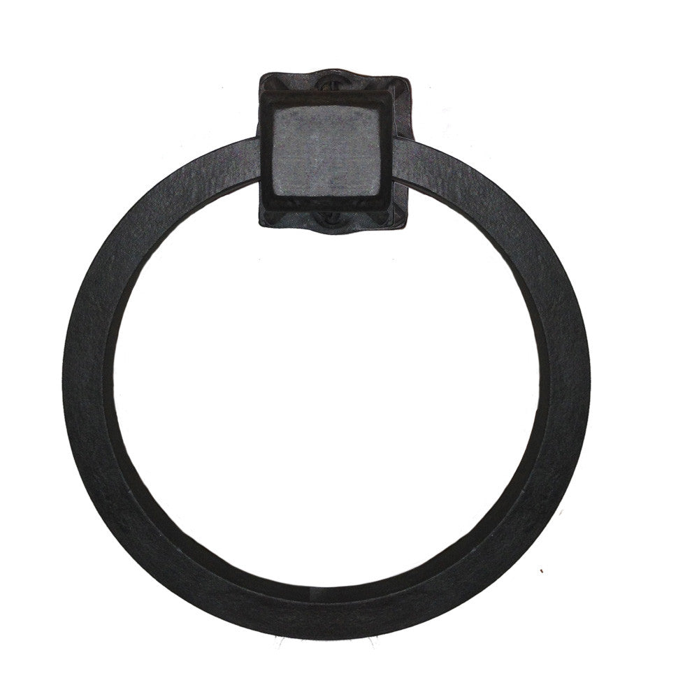 Adobe Wrought Iron Towel Ring Closed