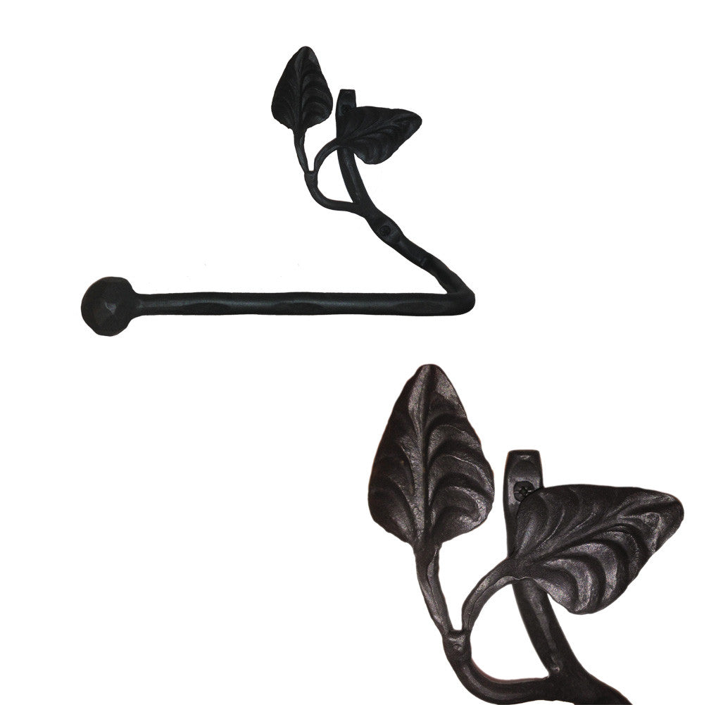 Calico Wrought Iron Leaf Towel Bar Petite Short Left