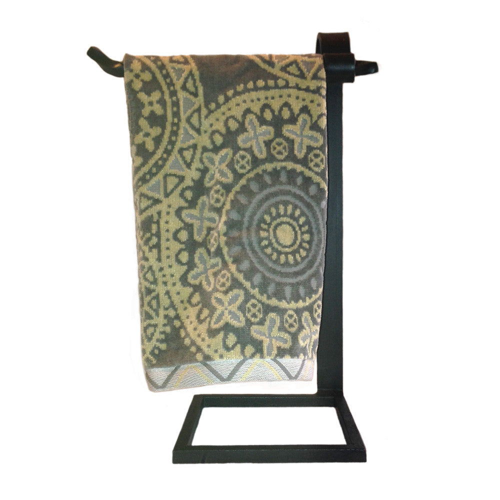 Jerome Twisted Wrought Iron Countertop Towel Stand Left