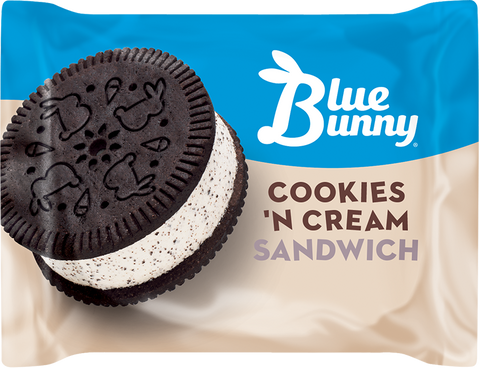 Blue Bunny Cookies 'N Cream Ice Cream Sandwich, 4.5 fl oz (24 Count)