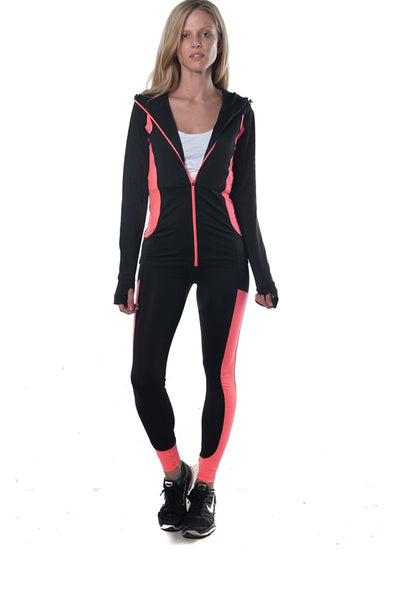 Coral and Black 2 Piece Activewear Set - Savage Garb