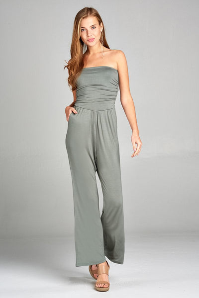 Avocado Wide Leg Tube Top Jumpsuit - Savage Garb