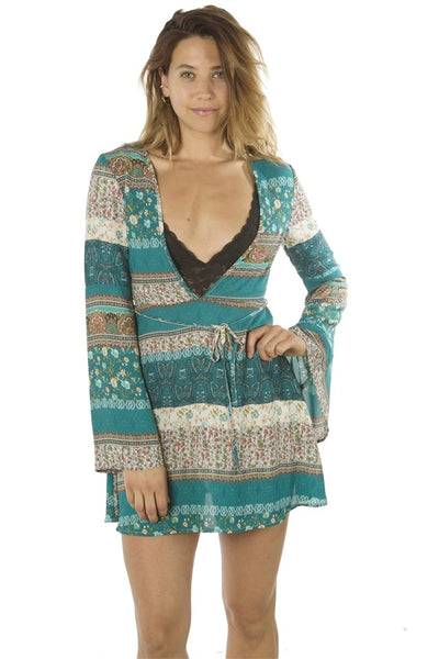 Flare Sleeved Deep Vee Casual Mini Dress - Savage Garb