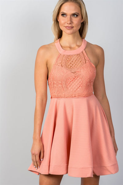 Lace Top Halter Mini Dress - Savage Garb