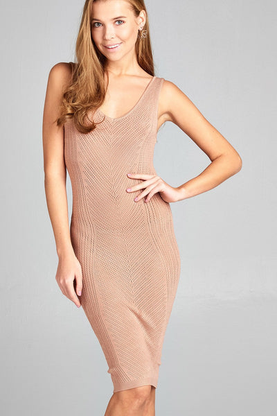 Scoop back Knitted Bodycon Dress - Blush - Savage Garb